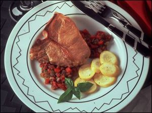Veal Chops with Tomato-Pepper Relish makes a delicious one or two-serving recipe.