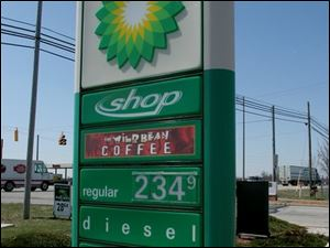 Oh, for the days of $2.13 a gallon! BP stations, like this one at Clark Drive and State Rt. 795, have the area's record price.