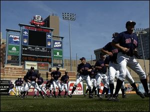 The Mud Hens enjoyed a beautiful day as they warmed up yesterday at Fifth Third Field.
