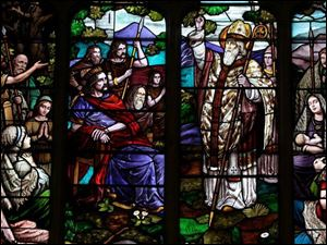 The stained-glass window in the Historic Church of St. Patrick's is one of 21 in Ohio that that are known to have been paid for by the Ancient Order of Hibernians. The window's centerpiece features a large pastoral scene of St. Patr