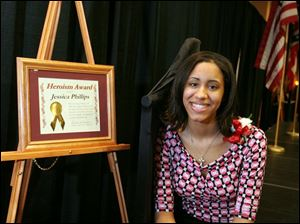 Jessica Phillips was honored for saving Dionna Roberts from drowning in February, 2004.