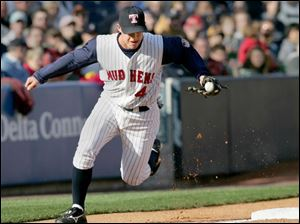 The Mud Hens  Jack Hannahan makes a play at third base. Hannahan went 2-of-4 at the plate and scored a run.