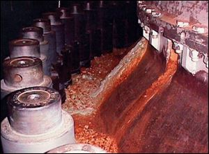 Rust coating the nuclear reactor in this 2000 photo