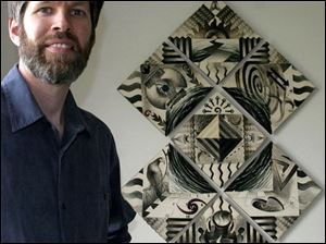 Kevin Anderson stands by a ceramic artwork whose tiles depict the 'seven spiritual practices.'