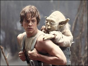 Yoda, a reluctant teacher, challenges Mark Hamill as Luke Skywalker.