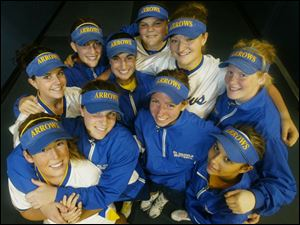 The starting lineup for St. Ursula s softball team includes (front, from left) Chelsey Jones, Kelly Krueger, Corey Monarch, Chastity Guerrero; (middle) Bridget Rattay, Alyssa Schultz, Hayley Wiemer, Audrey Tucholski; (back) Alyssa Frobase, Siera Reichler. The Arrows have compiled a 26-2 record.