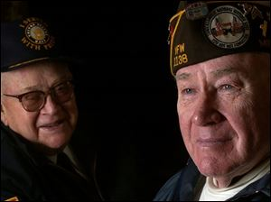 Dale Schroeder, left, and Richard Pearch are behind a campaign to honor Lt. Col. Matt Urban with a postage stamp.