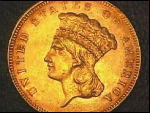 This Ohio-owned $3 gold coin from 1855 was reported missing in 2003.