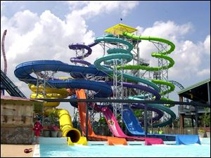 Geauga Lake's 100-foot-tall waterslide complex, formerly called Hurricane Mountain, has been renamed Thunder Falls and moved to the new Wildwater Kingdom.