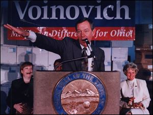 Then-Gov. George Voinovich speaks in Toledo in 1994. Several of his former political allies have been swept up in scandals.