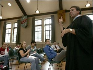 Seneca County Common Pleas Court Judge Steve Shuff fields questions from students during a break between cases.