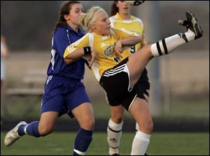 Northview's Kellie Brown attempts a bicycle kick against Anthony Wayne. The Wildcats won with a strong second half.