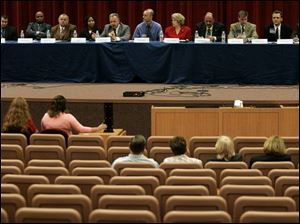 The session at the University of Toledo drew about 40 people and 11 of the 12 candidates.