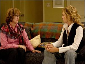 Meryl Streep, left, plays a therapist treating a patient (Uma Thurman) with a fear of intimacy.