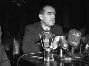 Sen. Joseph McCarthy testifies before a Senate subcommittee in 1950.