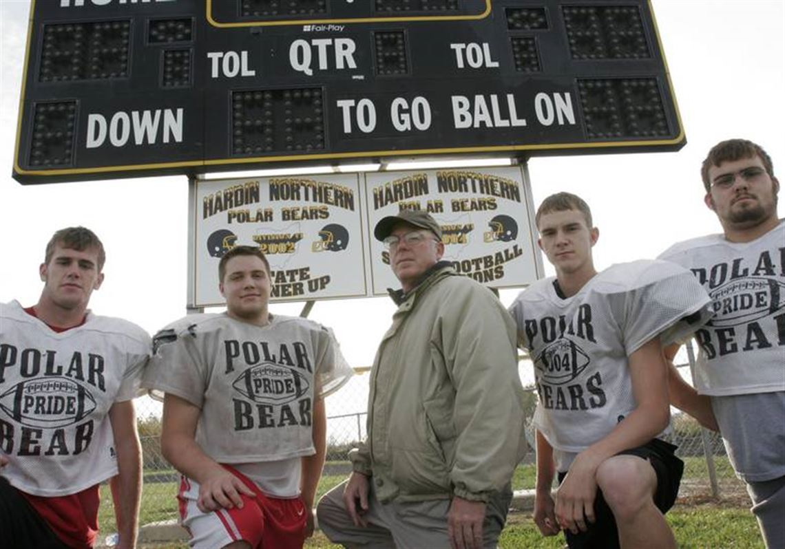 c78fc27d Hardin Northern's highly successful coach Pete Brunow is flanked by his  four seniors, from left