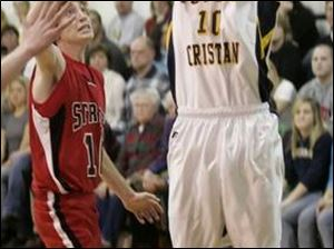 Toledo Christian senior forward Kyle Bensch goes up for a shot in last night's victory over Cardinal Stritch. Bensch finished with 14 points.