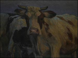 Some people are convinced that the eyes of a cow in Horace Guenther s Cows in Pasture follow them as they pass through the hall in Navarre School.