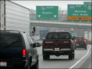 Traffic on I-75 backs up as it waits to enter I-475. An ODOT proposal would widen the ramp.