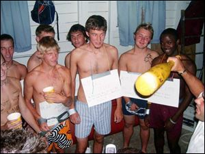 Tiffin University is investigating whether these men were welcomed to the soccer team with a hazing incident.