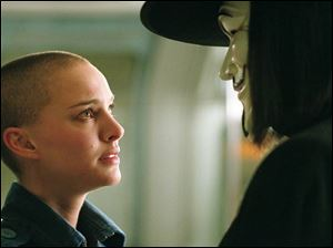 Natalie Portman and Hugo Weaving in <i>V for Vendetta</i>.