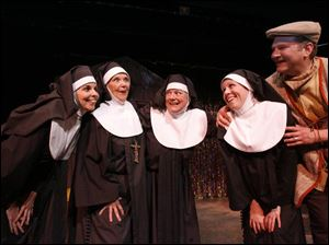 Cast members of the Toledo Repertoire Theatre s production of Meshuggah-Nuns! are, from