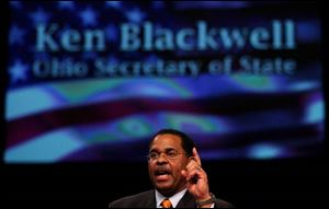 As Ohio's secretary of state and head election officer, Kenneth Blackwell was in charge of the state's controversial 2004 election in which President Bush narrowly carried Ohio's crucial electoral votes.