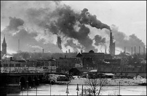 Toledo and the rest of the Great Lakes region is less polluted than in 1970, above, but still facing environmental challenges.