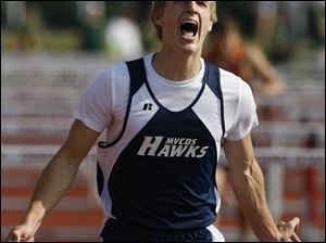 Maumee Valley's Chris Sackmann claimed a state championship in the 110-meter hurdles with a time of 14.34.