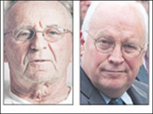 Maumee's Dick Cheney, 74, left, points out that he had the name before the 65-year-old vice president did.