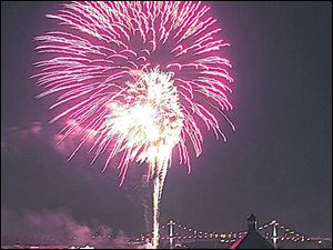 Thousands will watch fireworks along the Maumee River near downtown Toledo.