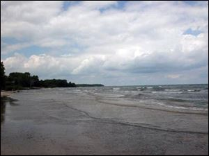 Waves lap the shore of the Kelleys Island acreage to be auctioned July 29. Some of the 11 parcels are on the water.