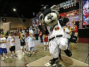 Ryan Smith as Dinger, the feline mascot for the Sacramento River Cats.