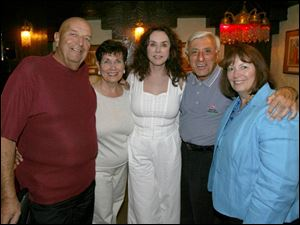 From left, Don and Venice Michel, Joy and Jamie Farr, and Kay Murray gather at a private dinner at the Beirut restaurant for tournament sponsors and the current and past general chairmen.