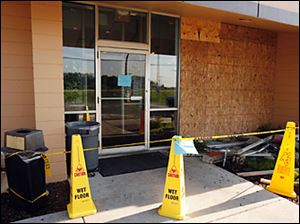 The exterior of the Denny's restaurant in Rossford after a car crashed through the front of the building.