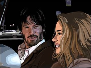 Keenu Reeves and Winona Ryder in <i>A Scanner Darkly</i>.