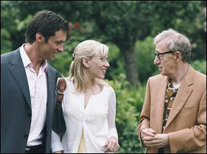 Hugh Jackman, Scarlett Johansson, and Woody Allen in <i>Scoop</i>.