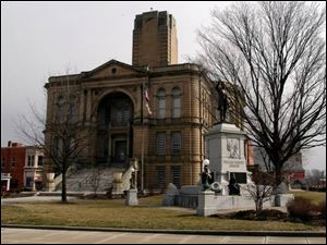 The courthouse in Tiffin was constructed beginning in 1884 at a cost of $214,000. It was designed by a Detroit architect.