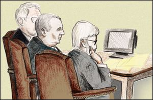 Courtroom sketch shows Tom Noe, center, and his attorneys at his sentencing today.