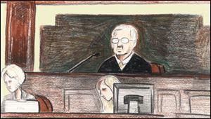 Courtroom sketch of U.S. District Court Judge David Katz, who sentenced Tom Noe to 27 months in a federal prison today.