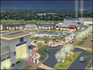 An artist's rendering of the project in Maumee depicts an open-air development that includes a theater.