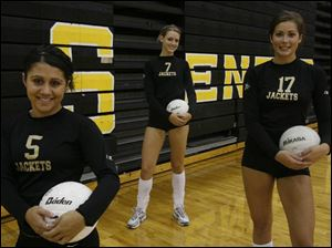 Perrysburg has three seniors who have already committedto play at Division I schools, from left  Amber Lopez (Marist), MelissaSzkutnik (Ohio) and Chelsea Campbell (Xavier). The Yellow Jackets have been stung by injuries but are getting healthy for a late-season run.