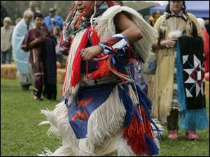 Detroit resident Peter Chiquito, of Navajo and Apache descent, dances during the American Indian gathering.
