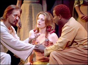 From left, Ted Neeley, Christine Rea-Briskin, and Corey Glover in Jesus Christ Superstar.