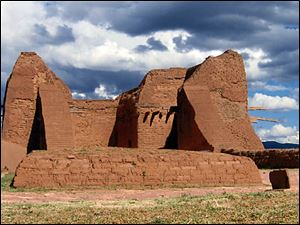 The walls are all that are left of an 18th century Spanish mission church at Pecos National Historic Park.