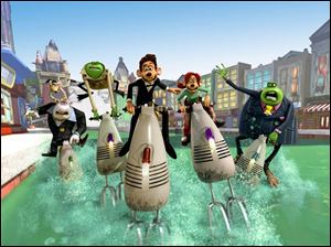 Roddy (voiced by Hugh Jackman), center, needs help from