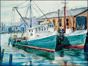 A watercolor painting of two boats in the harbor is among the works of Eileen Wilkowski on