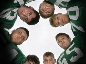 Oak Harbor offensive lineman are, clockwise from bottom