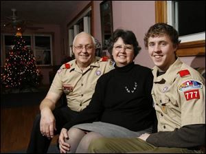 Ben Tipping, with parents Gary and Irene, will be the eighth family member (including a foster brother) to be an Eagle Scout.
