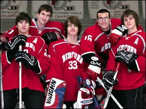 Bedford looks to defend its NHC White Division title with top players including (from left) Lukas Hayden, Chase Krider, goaltender Lucas Fournier, Danny Hopkins, and Andy Backus.